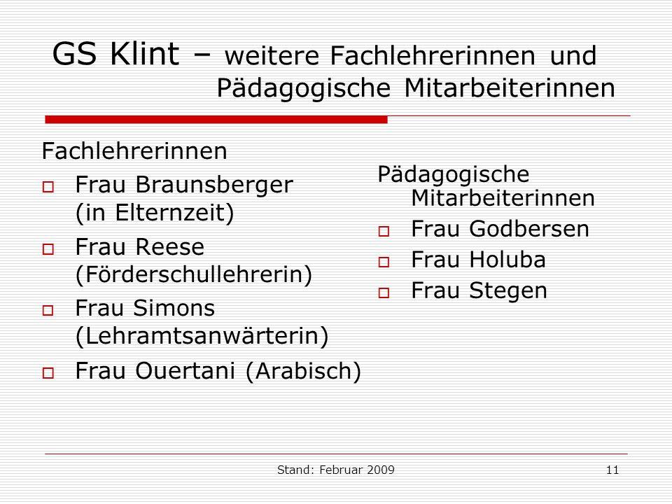 GS Klint – weitere Fachlehrerinnen und Pädagogische Mitarbeiterinnen