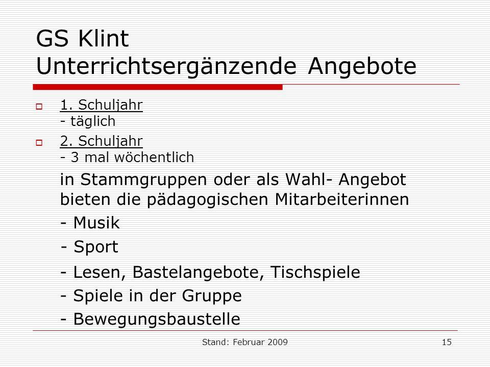 GS Klint Unterrichtsergänzende Angebote
