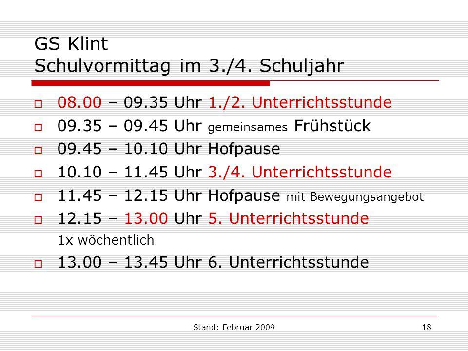 GS Klint Schulvormittag im 3./4. Schuljahr