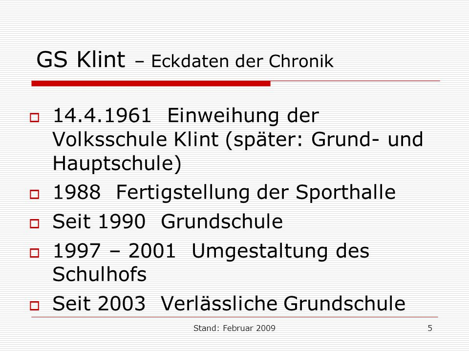 GS Klint – Eckdaten der Chronik