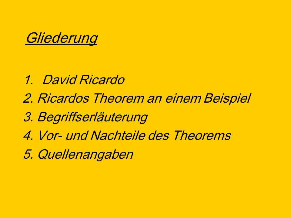 Gliederung David Ricardo 2. Ricardos Theorem an einem Beispiel