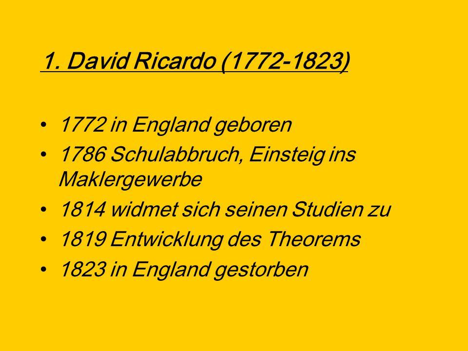 1. David Ricardo (1772-1823) 1772 in England geboren