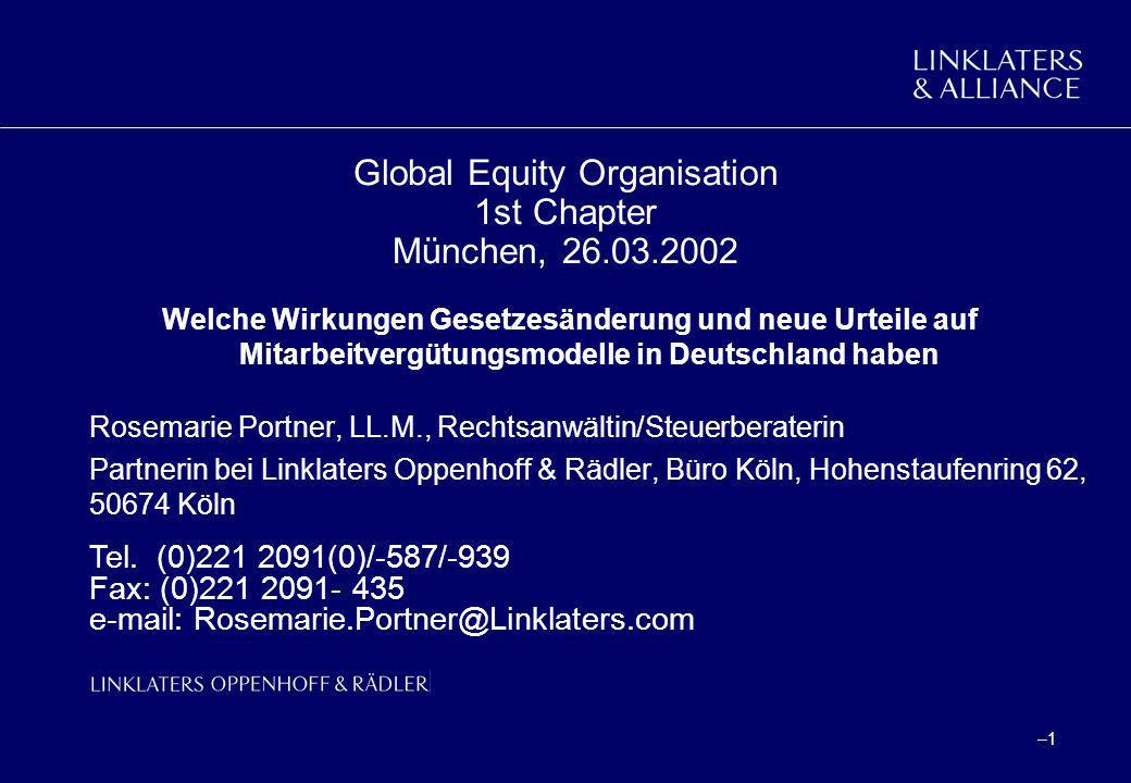 Global Equity Organisation 1st Chapter München, 26.03.2002