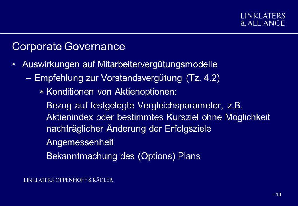 Corporate Governance Auswirkungen auf Mitarbeitervergütungsmodelle