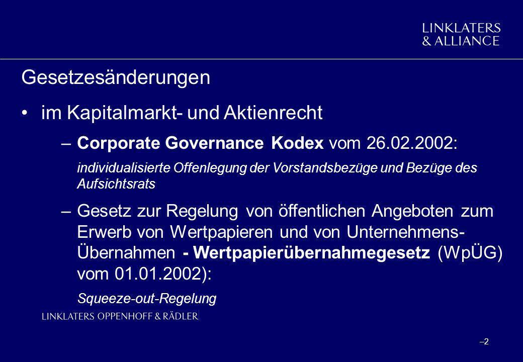 Gesetzesänderungen im Kapitalmarkt- und Aktienrecht