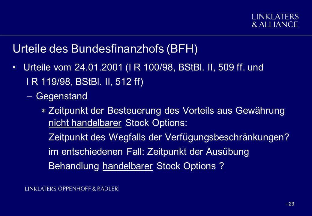 Urteile des Bundesfinanzhofs (BFH)