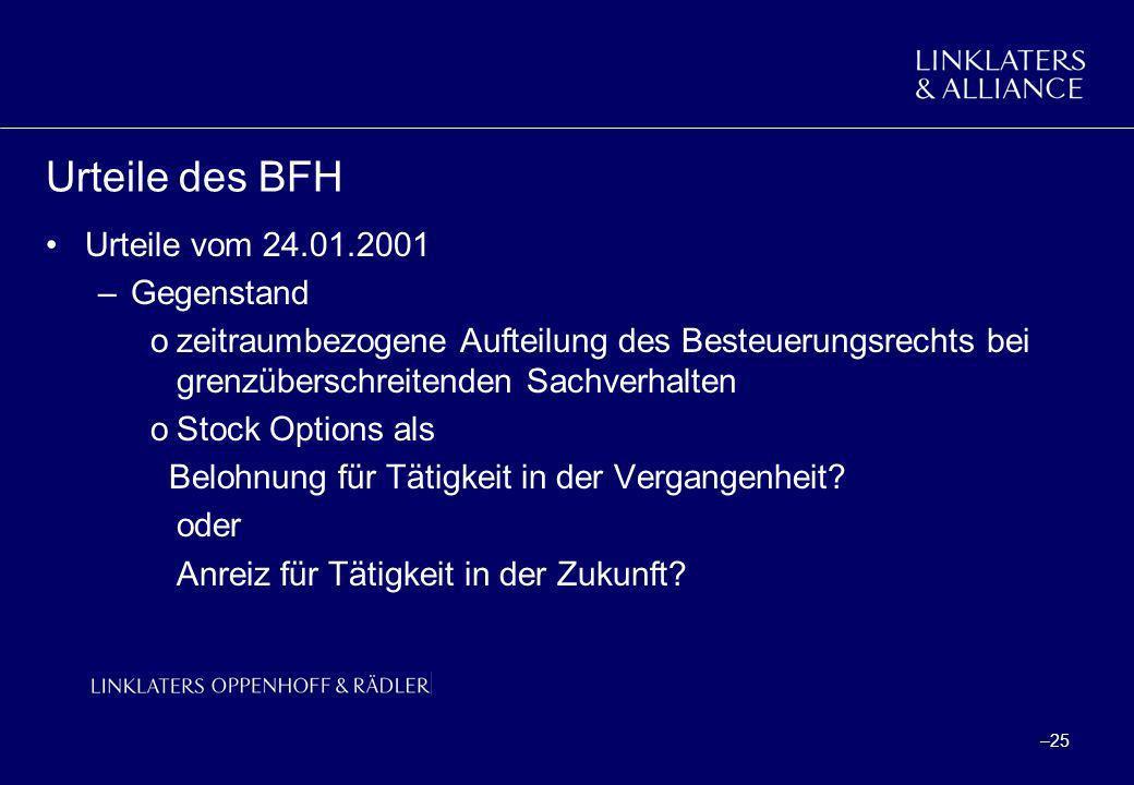 Urteile des BFH Urteile vom 24.01.2001 Gegenstand