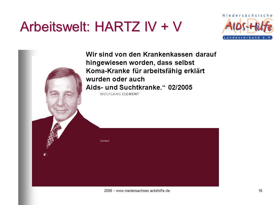 Arbeitswelt: HARTZ IV + V