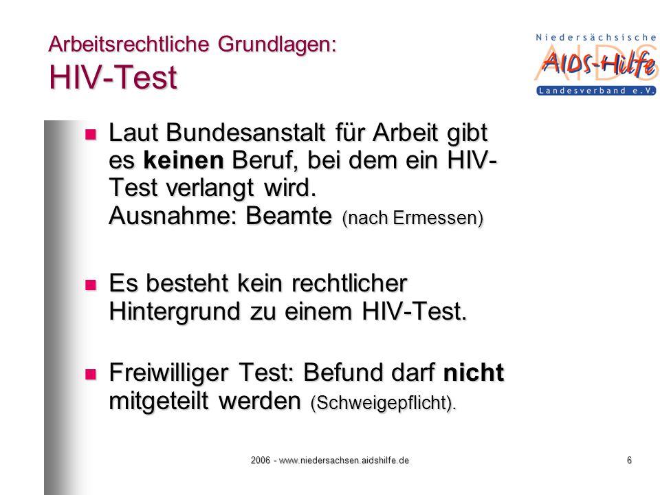 Arbeitsrechtliche Grundlagen: HIV-Test