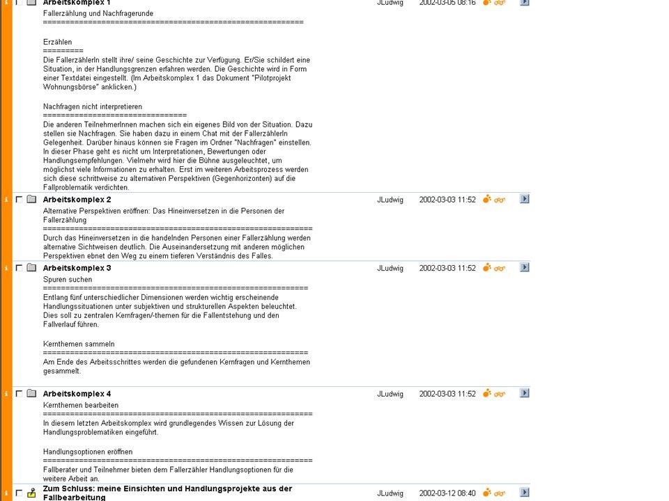 Eine Übersicht der 4 Arbeitskomplexe für eine Fallbearbeitung im Projekt be-online.