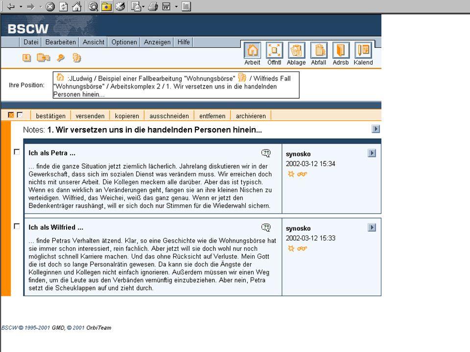 """Ein Beispiel, wie sich ein Teilnehmer mittels der Forumsfunktion """"Diskussion in Akteure des Falles hineinversetzt."""