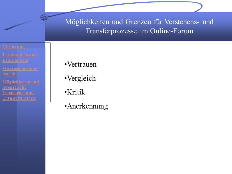 Möglichkeiten und Grenzen für Verstehens- und Transferprozesse im Online-Forum