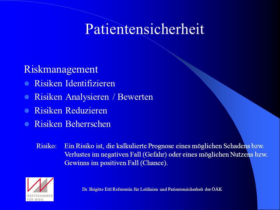 Patientensicherheit Riskmanagement Risiken Identifizieren