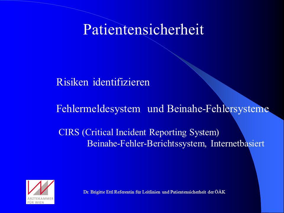 Patientensicherheit Risiken identifizieren