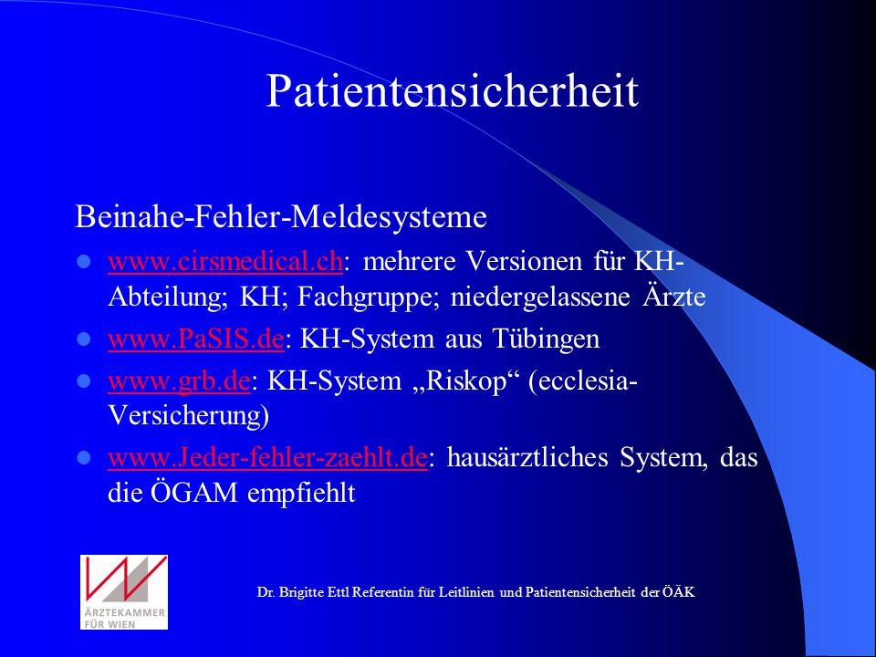Patientensicherheit Beinahe-Fehler-Meldesysteme