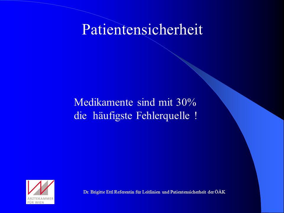 Patientensicherheit Medikamente sind mit 30% die häufigste Fehlerquelle !