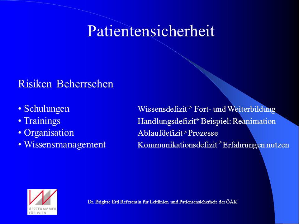 Patientensicherheit Risiken Beherrschen