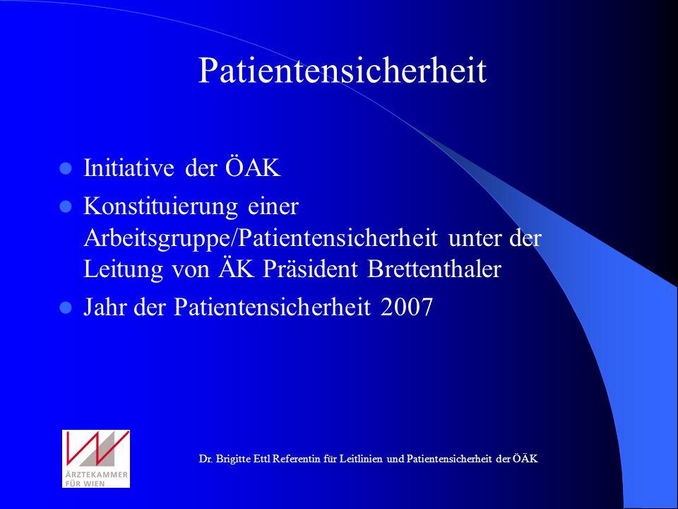 Patientensicherheit Initiative der ÖAK