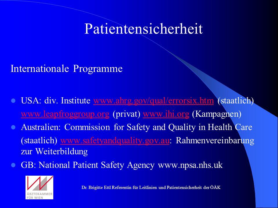 Patientensicherheit Internationale Programme