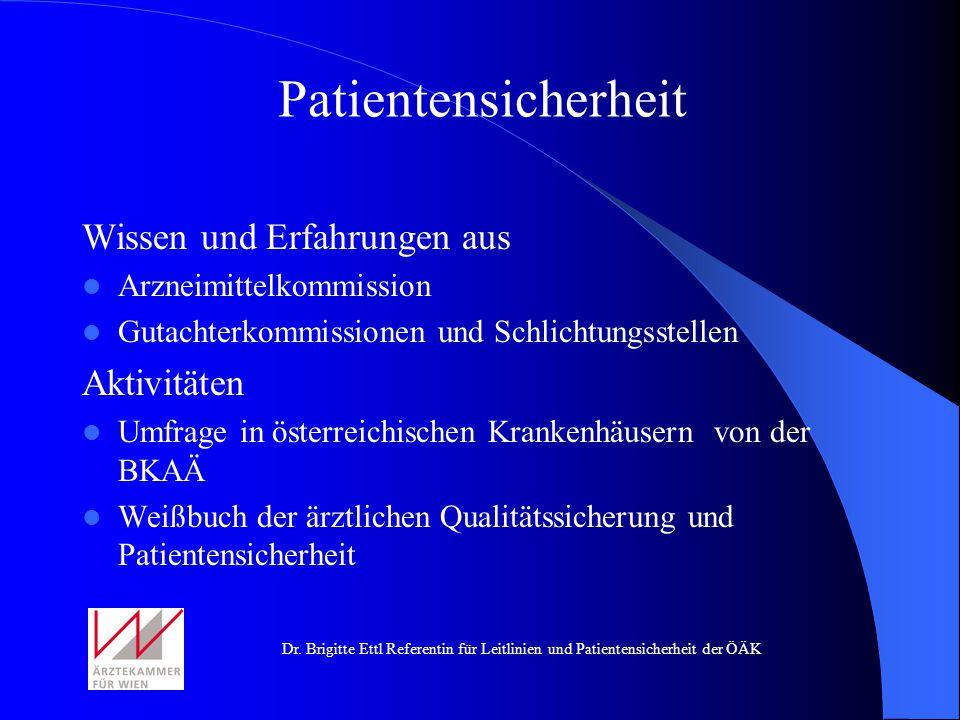Patientensicherheit Wissen und Erfahrungen aus Aktivitäten