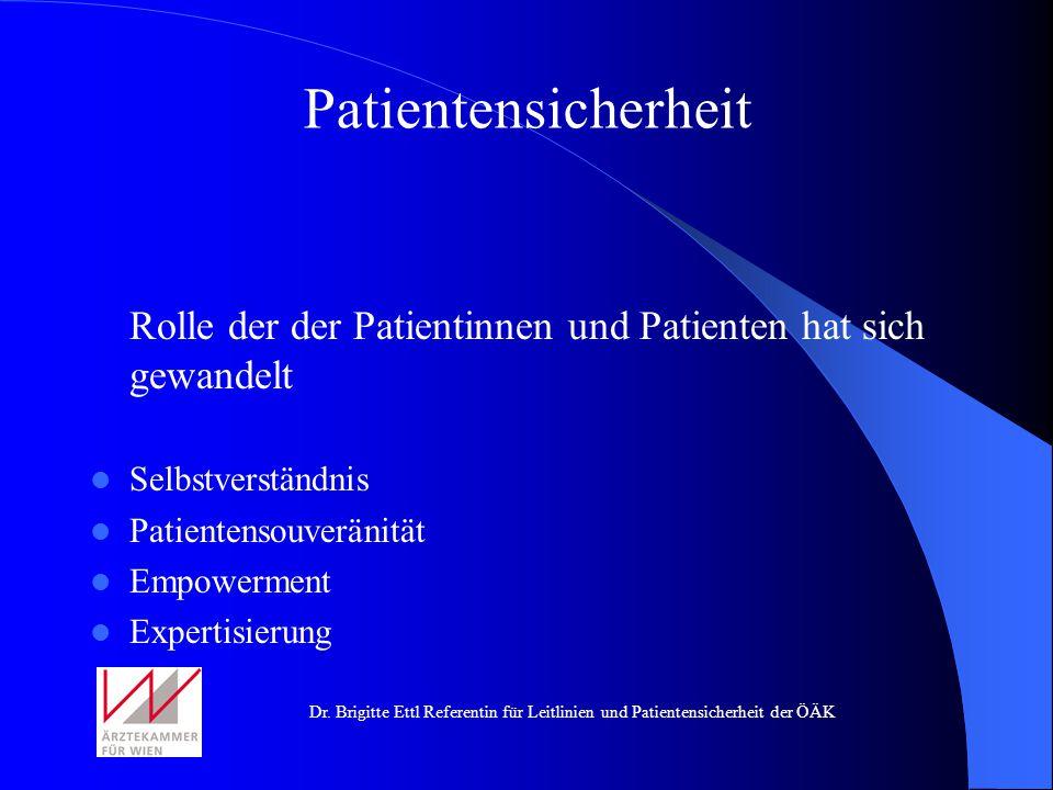 Patientensicherheit Rolle der der Patientinnen und Patienten hat sich gewandelt. Selbstverständnis.