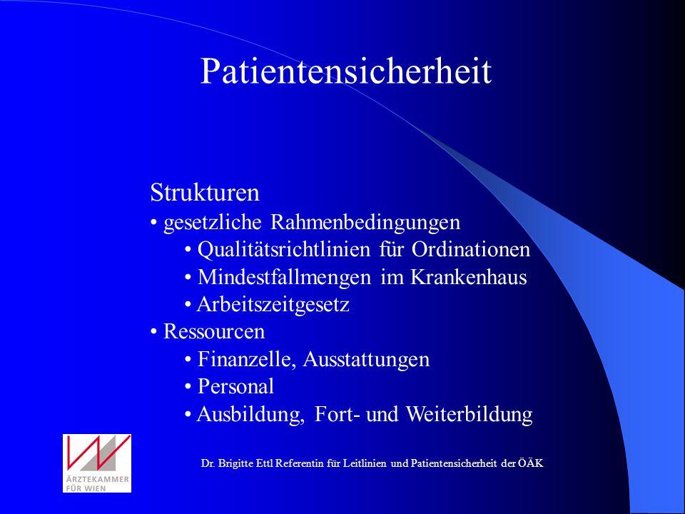 Patientensicherheit Strukturen gesetzliche Rahmenbedingungen