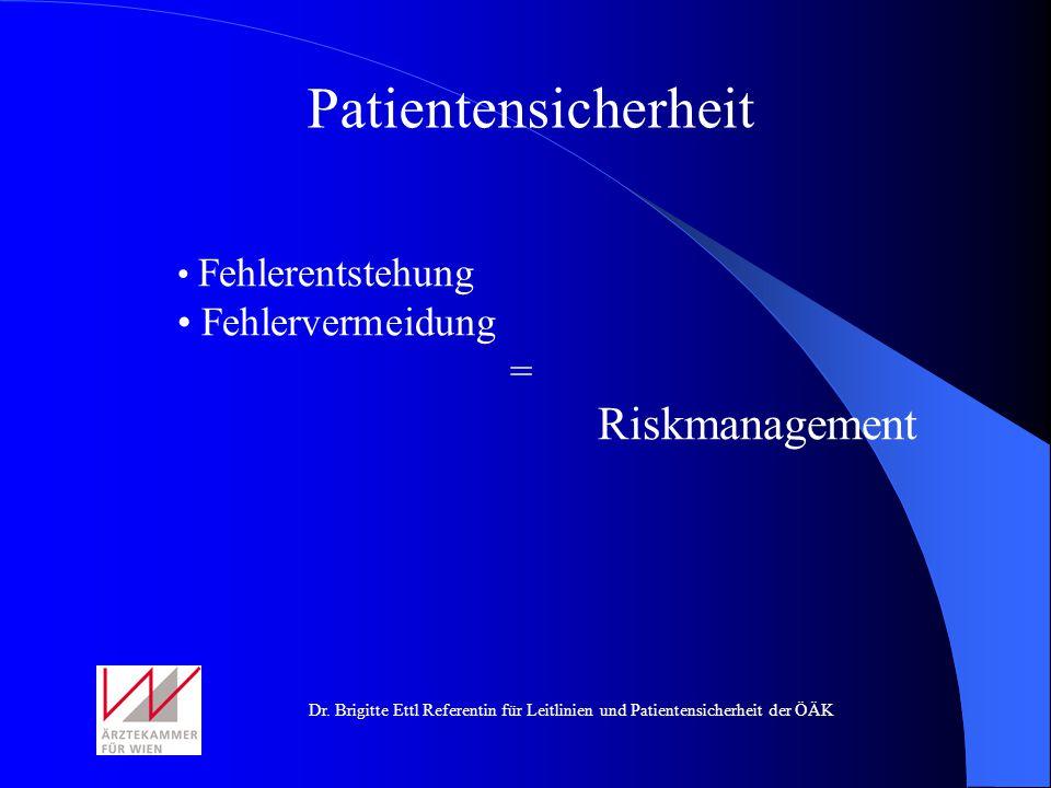 Patientensicherheit Fehlerentstehung Fehlervermeidung = Riskmanagement