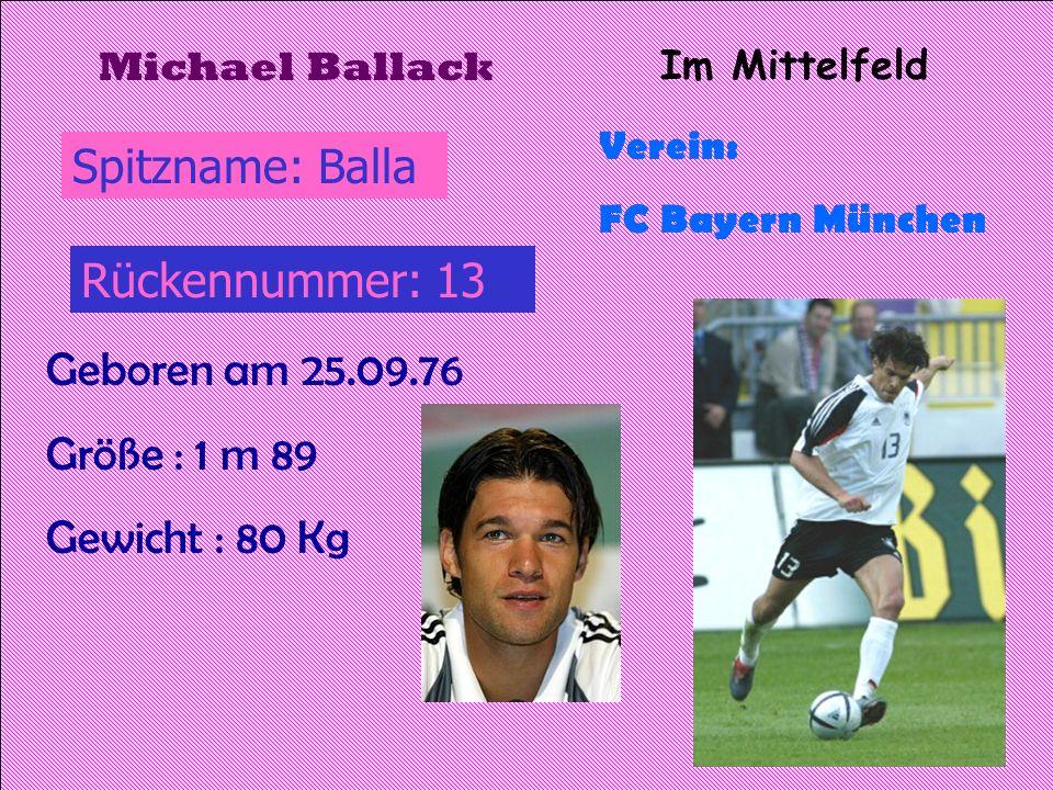 Spitzname: Balla Rückennummer: 13 Geboren am 25.09.76 Größe : 1 m 89