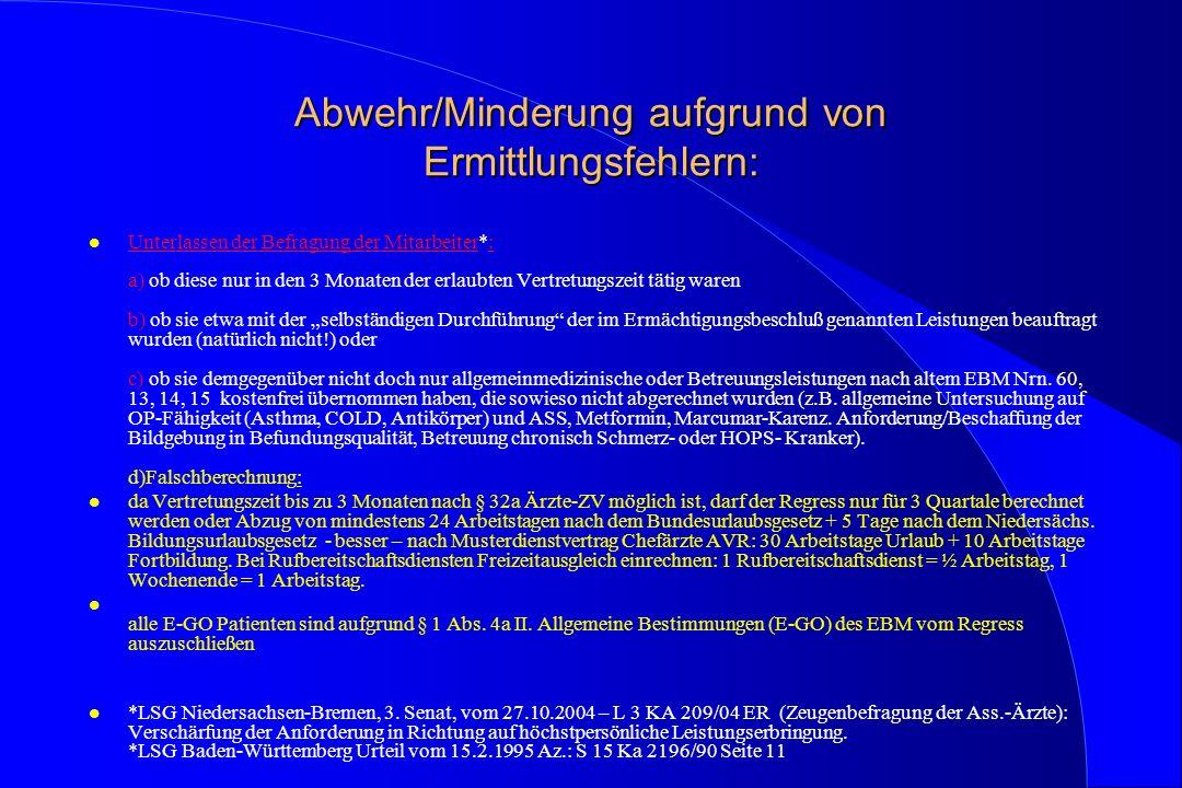Abwehr/Minderung aufgrund von Ermittlungsfehlern: