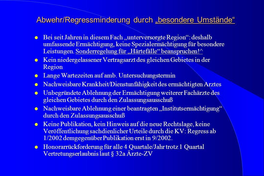 """Abwehr/Regressminderung durch """"besondere Umstände"""