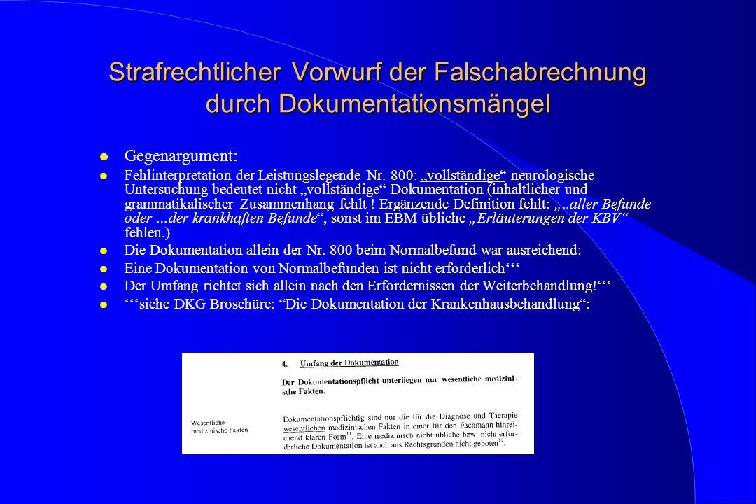 Strafrechtlicher Vorwurf der Falschabrechnung durch Dokumentationsmängel