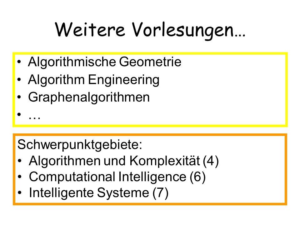 Weitere Vorlesungen… Algorithmische Geometrie Algorithm Engineering