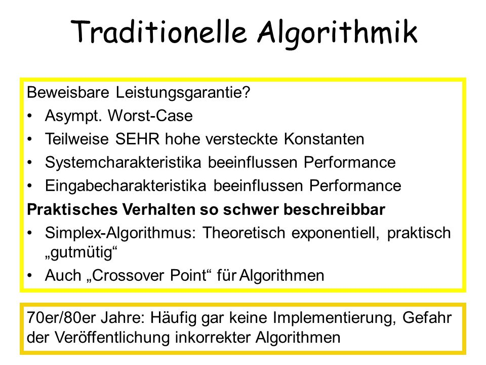 Traditionelle Algorithmik