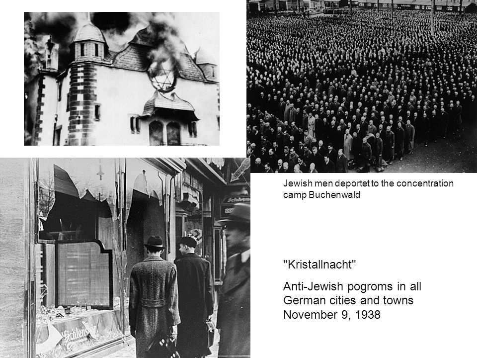 Anti-Jewish pogroms in all German cities and towns November 9, 1938