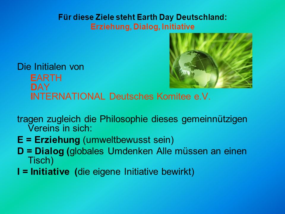 EARTH DAY INTERNATIONAL Deutsches Komitee e.V.
