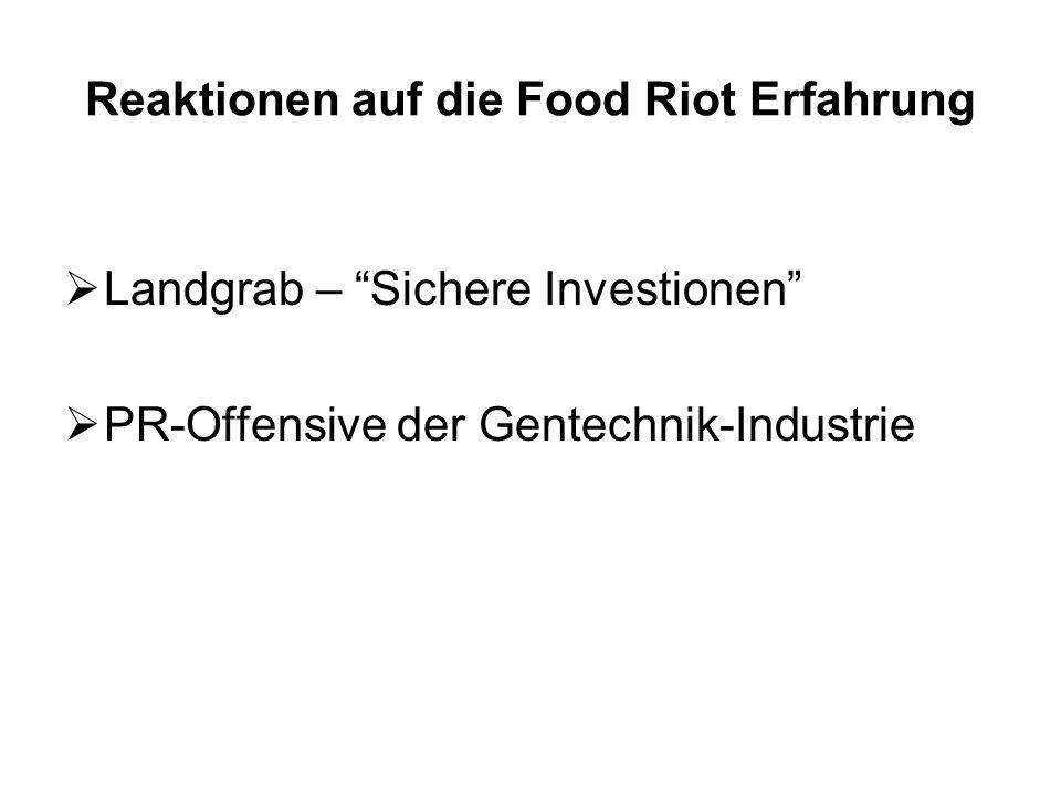 Reaktionen auf die Food Riot Erfahrung