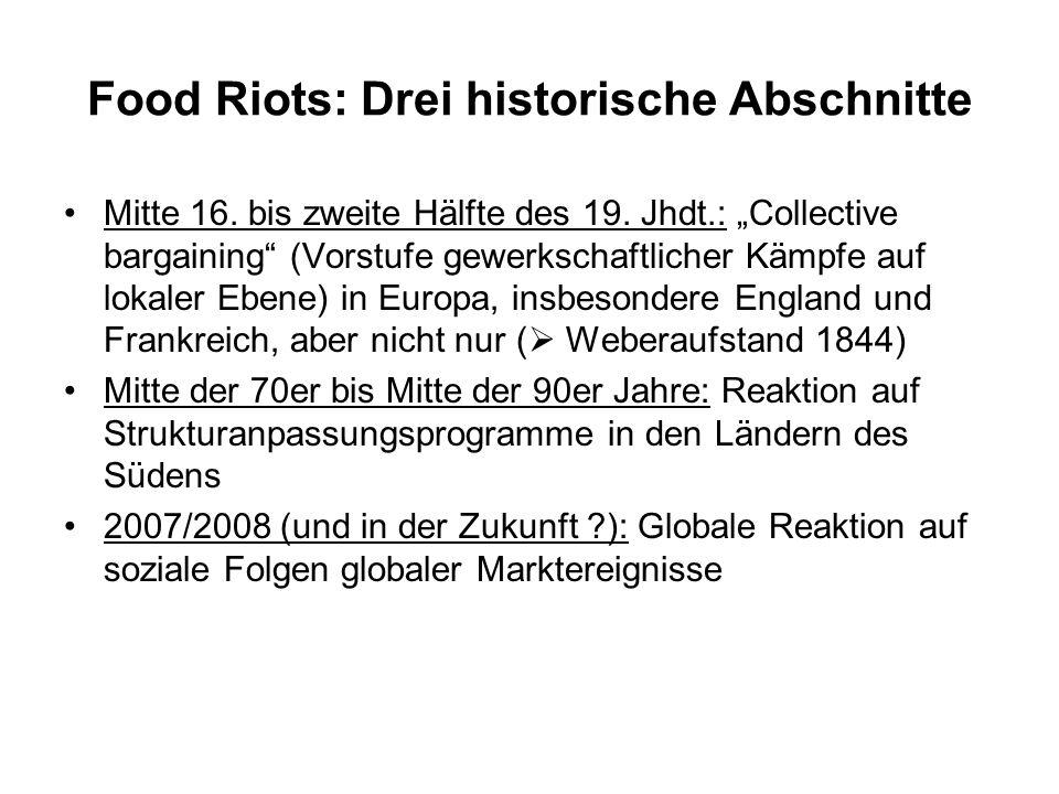 Food Riots: Drei historische Abschnitte
