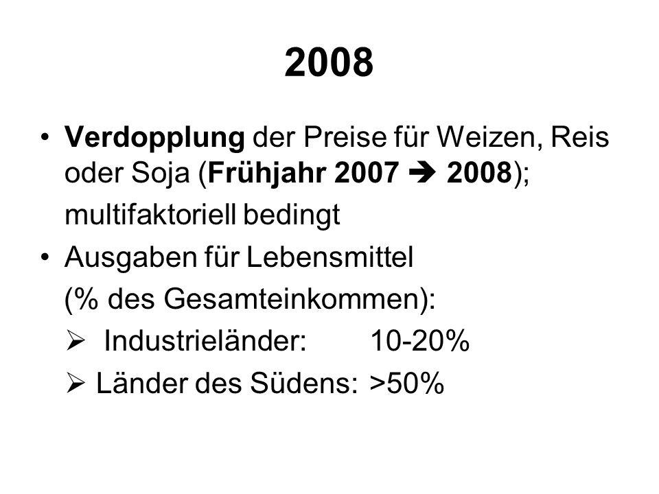 2008 Verdopplung der Preise für Weizen, Reis oder Soja (Frühjahr 2007  2008); multifaktoriell bedingt.