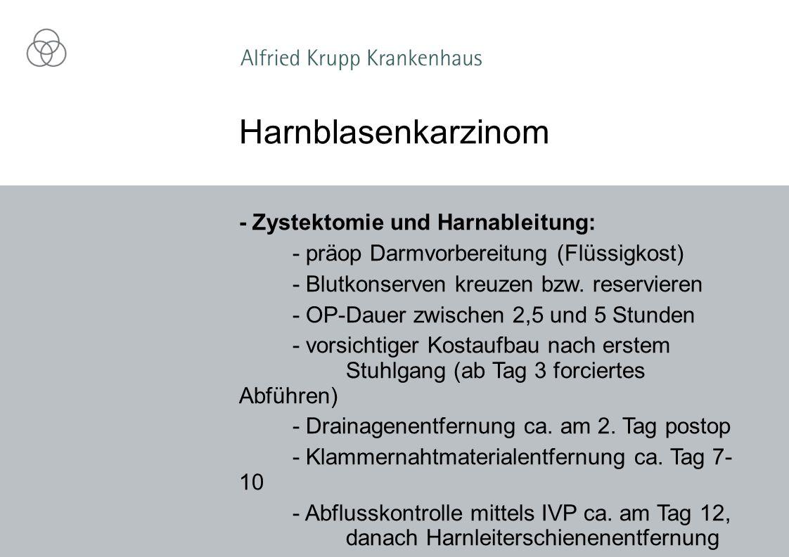 Harnblasenkarzinom - Zystektomie und Harnableitung: