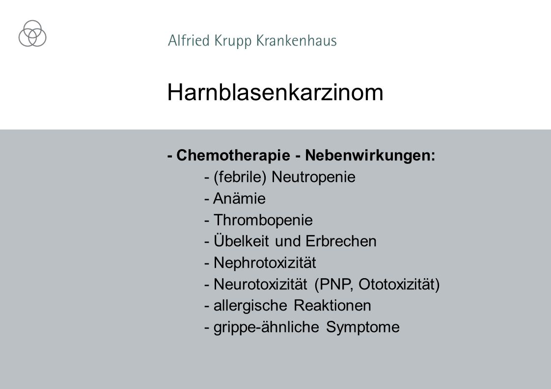 Harnblasenkarzinom - Chemotherapie - Nebenwirkungen: