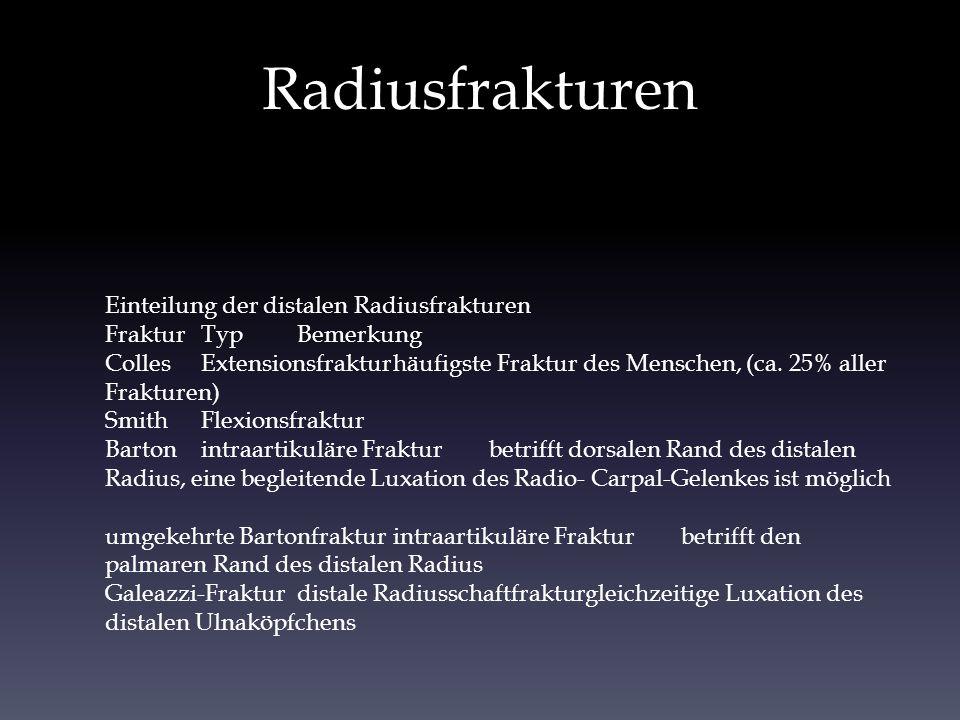 Radiusfrakturen Einteilung der distalen Radiusfrakturen
