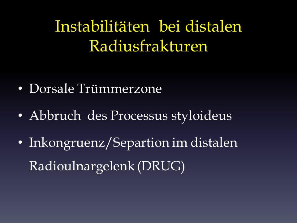 Instabilitäten bei distalen Radiusfrakturen