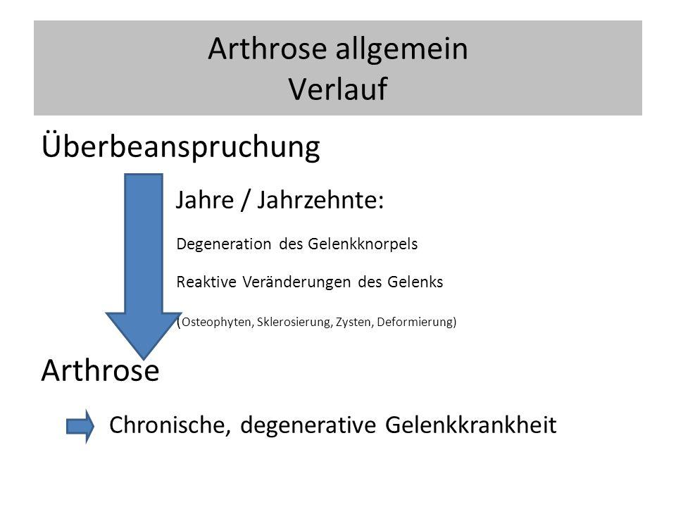 Arthrose allgemein Verlauf