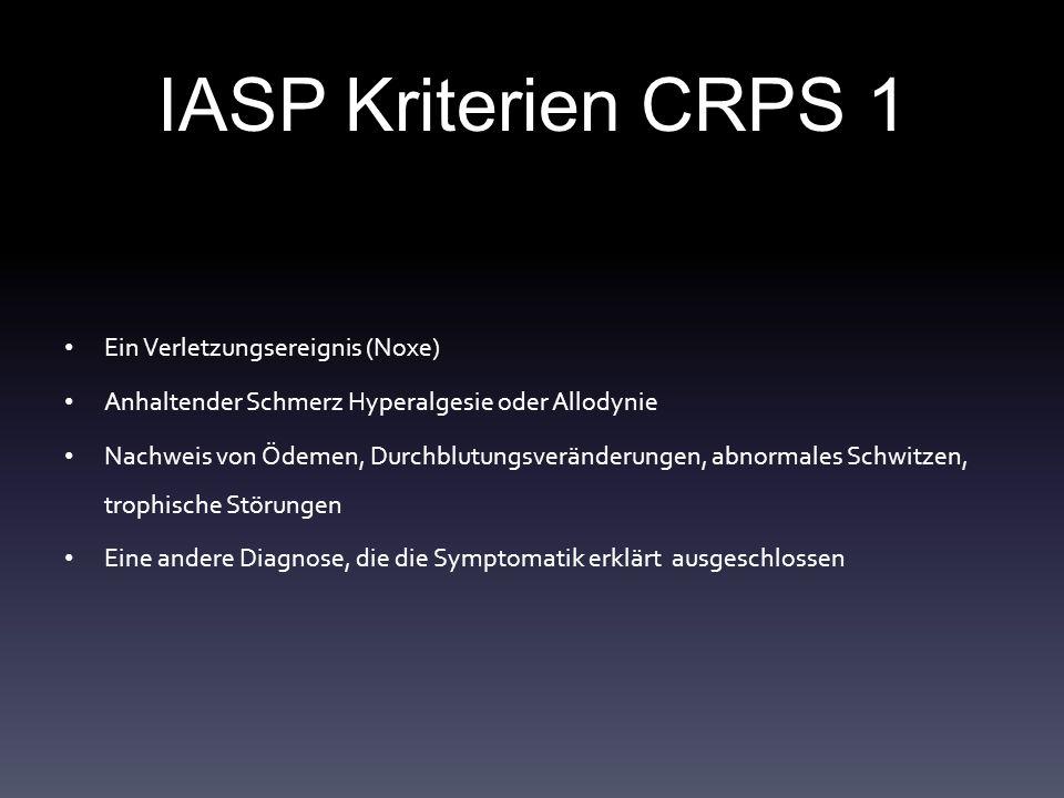 IASP Kriterien CRPS 1 Ein Verletzungsereignis (Noxe)