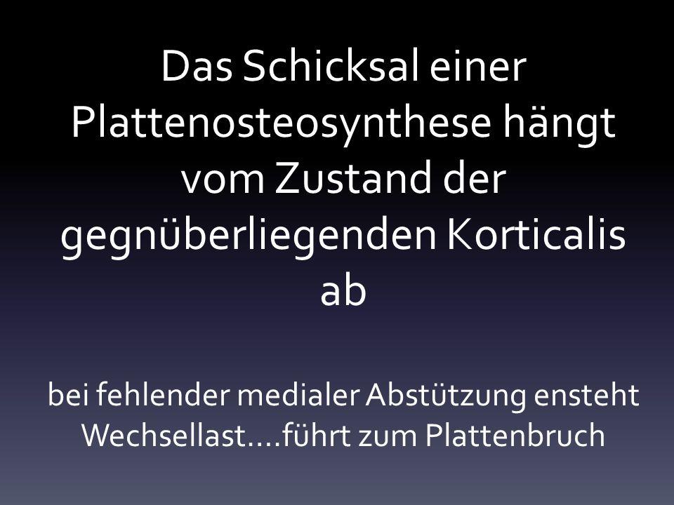 Das Schicksal einer Plattenosteosynthese hängt vom Zustand der gegnüberliegenden Korticalis ab bei fehlender medialer Abstützung ensteht Wechsellast….führt zum Plattenbruch