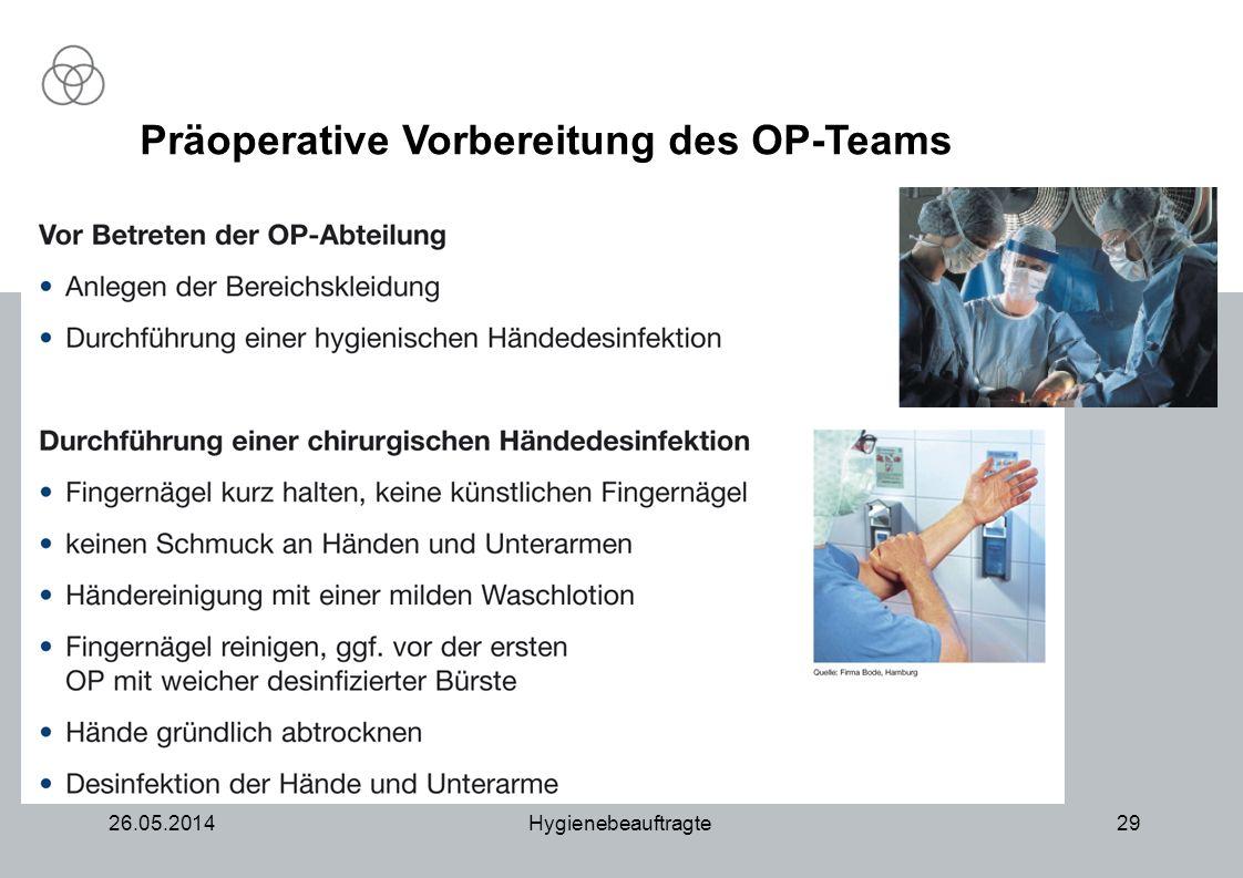Präoperative Vorbereitung des OP-Teams