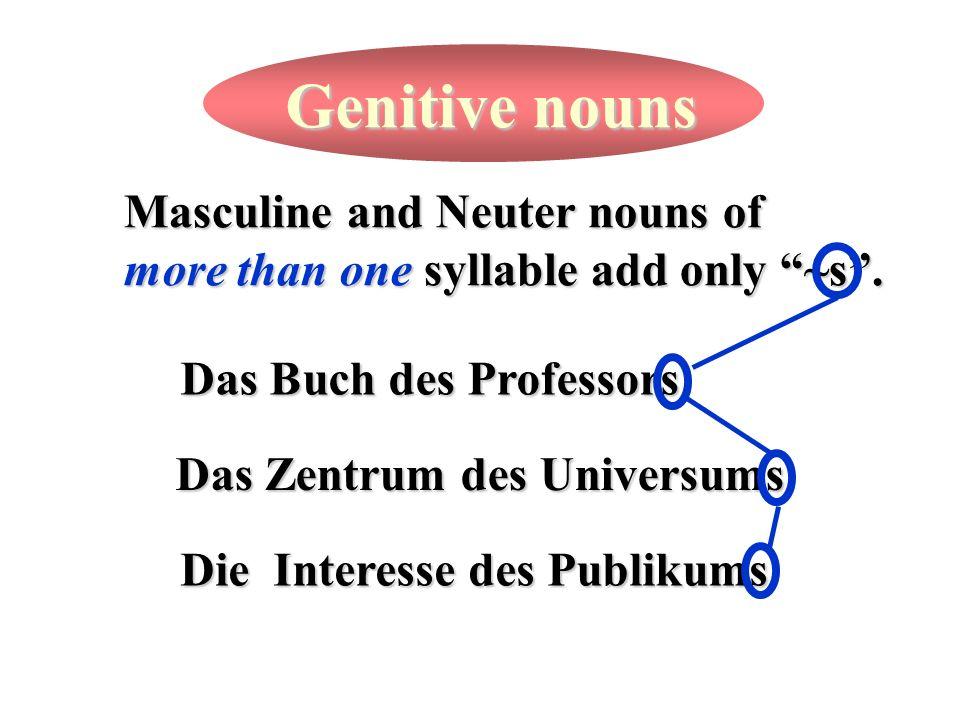 Genitive nouns Masculine and Neuter nouns of