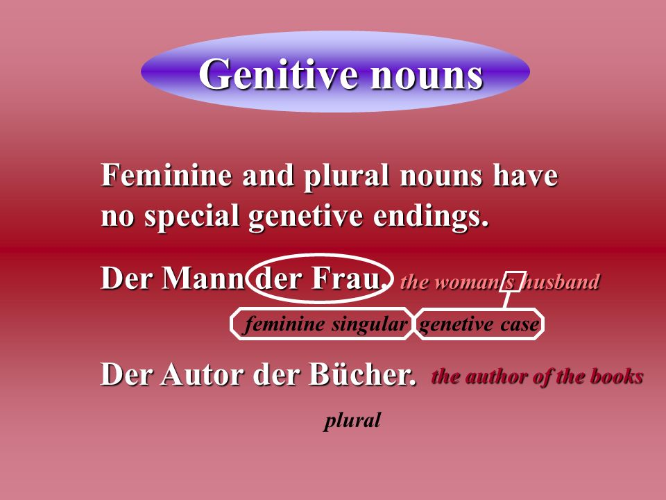 Genitive nouns Feminine and plural nouns have no special genetive endings. Der Mann der Frau. the woman's husband.