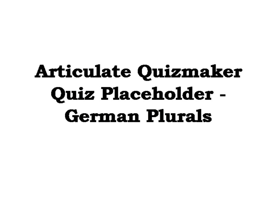 German Plurals