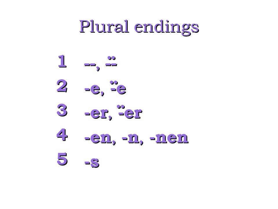 Plural endings 1 --, -- 2 -e, -e 3 -er, -er 4 -en, -n, -nen 5 -s .. ..